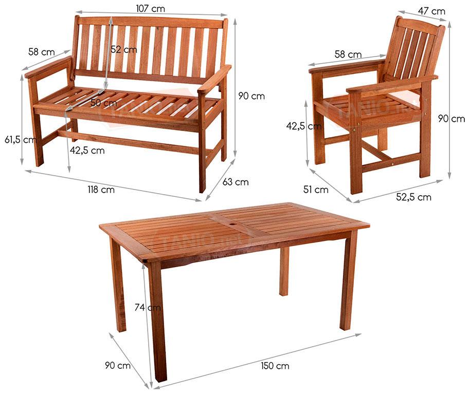 50% Zestaw meble ogrodowe drewno stół + krzesła  3669057137