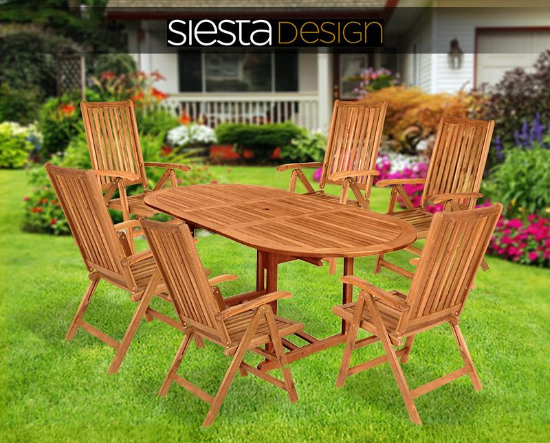 Meble Ogrodowe Drewniane Eukaliptus : Zestaw meble ogrodowe drewniane stół + 6 krzeseł  4317452320